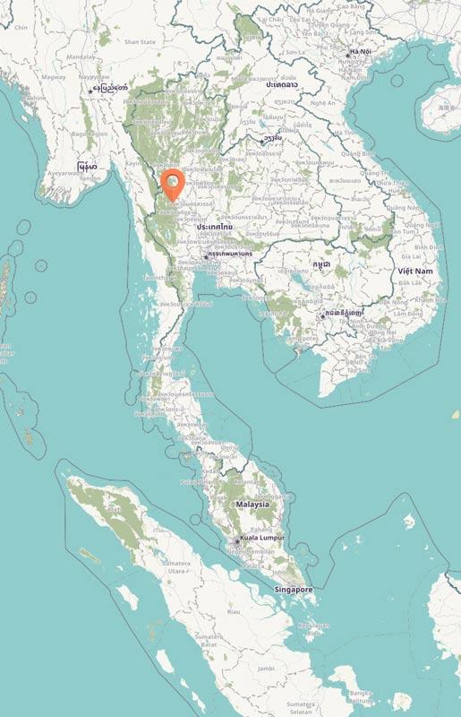Map - Huai Kha Khaeng, Thailand